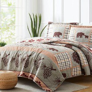New Wilderness 3-Piece Bedding 100% Polyester Quilt Set •Reversible •King